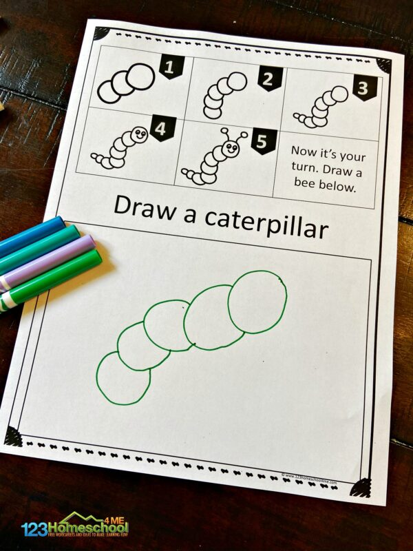 these Easy drawing for kids make it fun to learn to make 10 spring pictures including caterpillar pictured