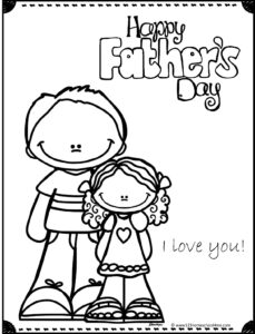 Father and daughter happy fathers day coloring page