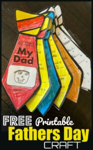 FREE Printable Fathers Day Craft - Dad will feel so special when you present him with this super cute, printable tie Fathers Day Craft! This is easy to make from the template, fun to color, and makes a precious keepsake when children fill in their favorite things about their Daddy to finish the Tie Flip book for Dad!