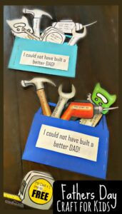 FREE Toolbox Fathers Day Craft - This super cute, toolbox themedFathers Day Craft is such a fun craft kids can make for Dad to celebrate Father's Day on June 21st. Simply print the free template, cute, color, fill in and present your gift to Daddy!