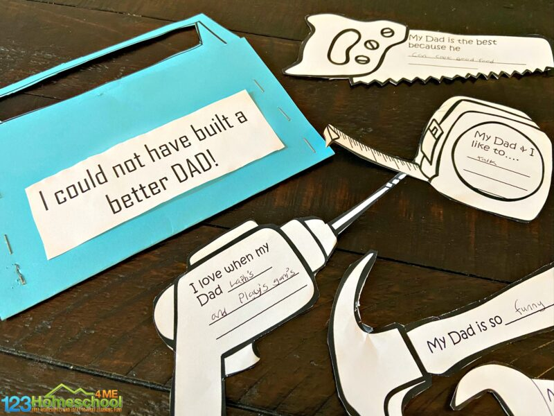 tools themed Fathers Day Craft for Kids. print template of tool box, drill, hammer, saw, tape measure, wrench, and more and fill in the spots for memories with dad