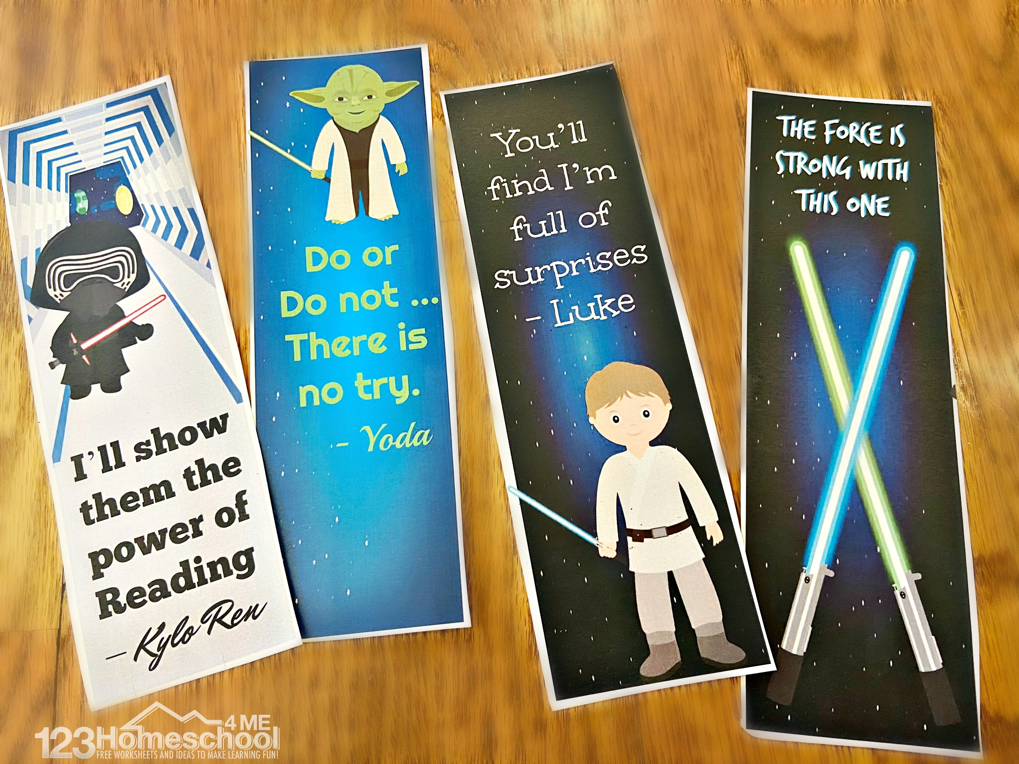 Free Printable Bookmarks featuring darth vadar, rey, luke, light sabers, yoda, kylo ren, death star, bb8, and more