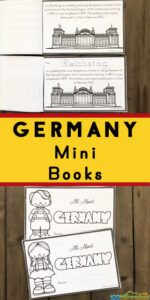 Explore the rich culture Germany for Kids with these free printable Germany Mini Books filled with clipart to color and fascinating information about the geography, flag, Brandenburg Gate, Reichstag, and delicious food such as frankfurters, sauerkraut, pretzels, and apple strudel.