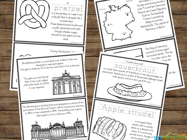 free Germany Printables filled with pictures to color and text to read to learn about flag, pretzels, history, reichstag, brandenburg gate, and more German culture