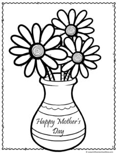 Happy Mothers's Day filled with pretty flowers coloring page for Mum