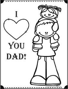 I love you Dad with girl on daddys shoulders coloring page