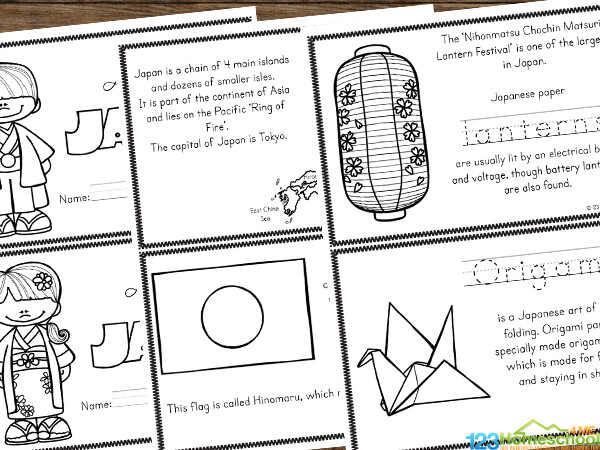 Japan printables to teach elementary age kids about countries around the world