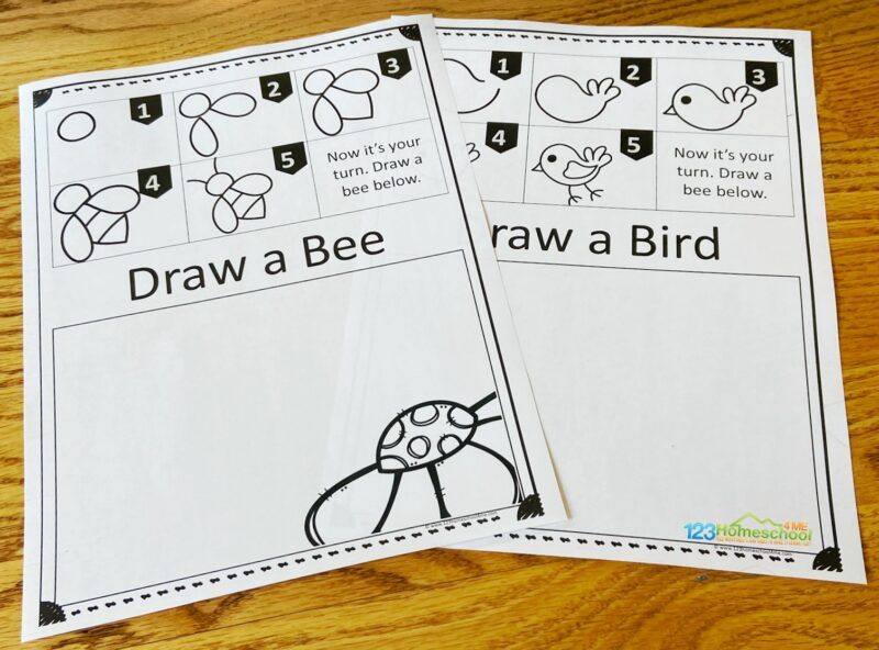 10 printable Learn to Draw Step by Step for preschool, pre k, kindergarten first grade, 2nd grade, 3rd grade students