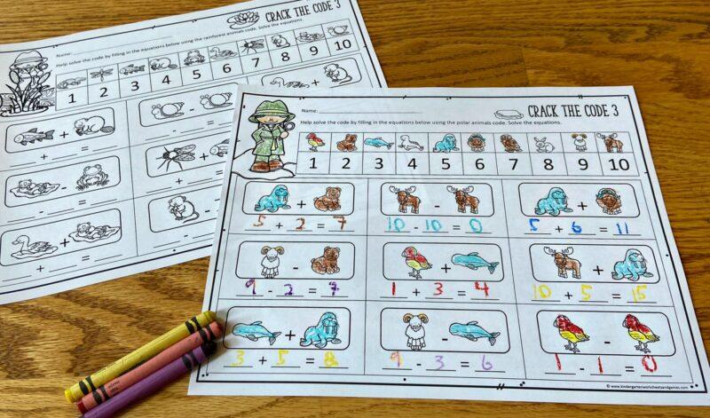 polar animals themed Math Worksheets for Kindergartners
