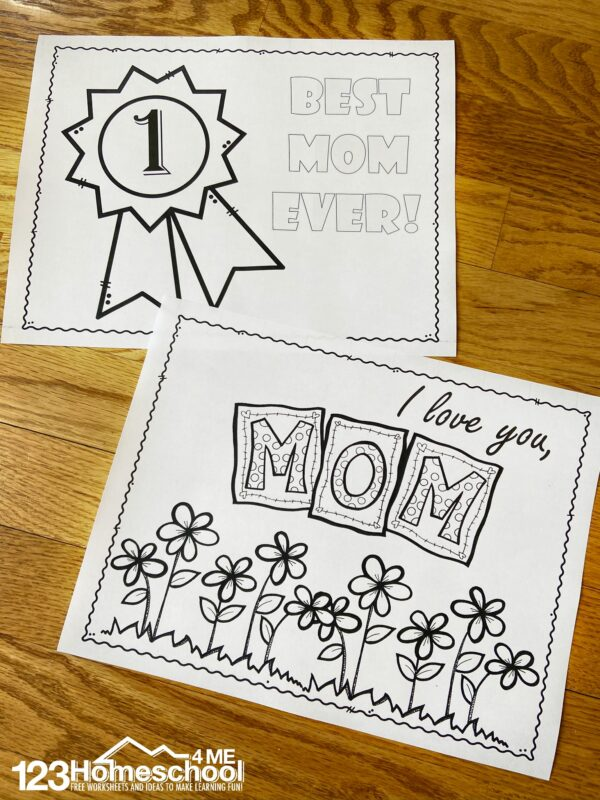 Ribbon with Best Mom Ever and I love you Mom with flowers Mother's Day Coloring Pages