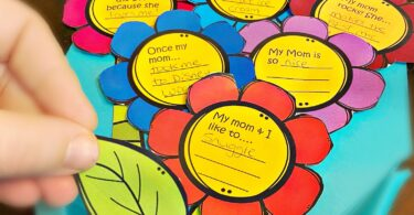 tape or glue the pretty, colorful flowers, leaves and stems on the template