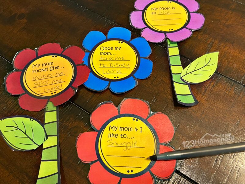 children will finish the writing prompts on each flower about why they love their mom, special things they do together, etc.