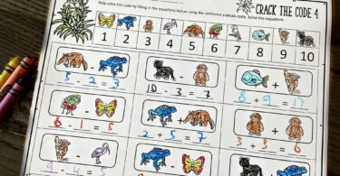 rainforest Printable Addition Worksheets filled with tree frogs, anteaters, butterflies, jaguar, monkeys, and more rainforest animals