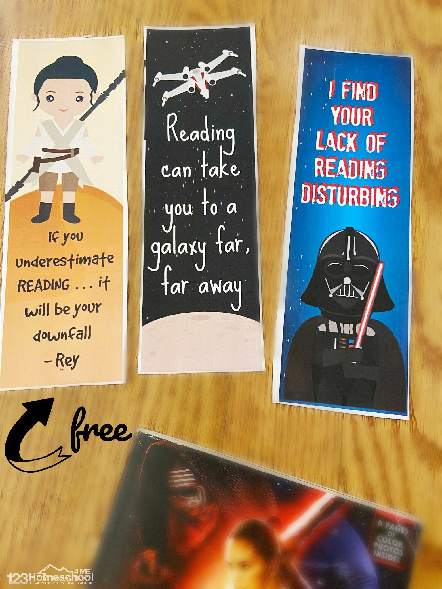 super cute Printable Bookmarks for Kids of all ages featuring star wars characters from a galaxy far far away
