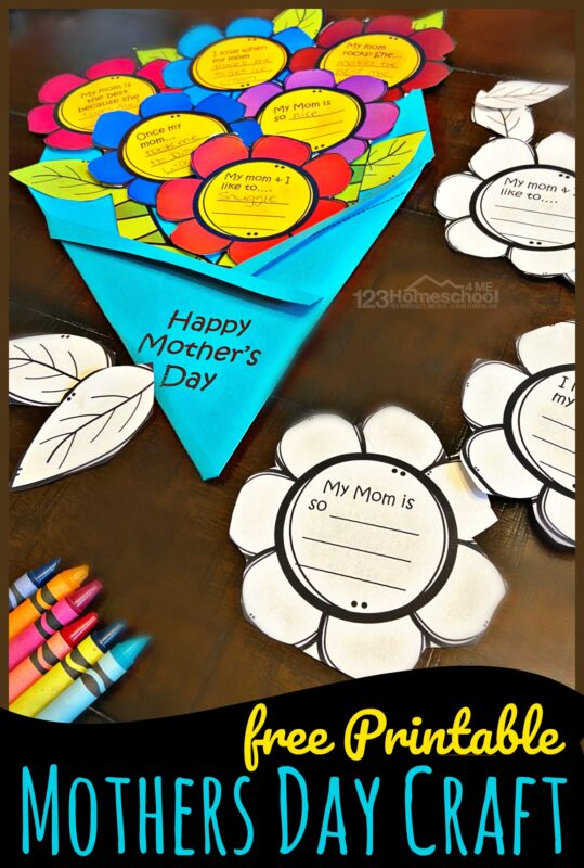 Flower Bouquet FREE Printable Mothers Day Craft For Kids