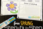 Kids will be come confident in their artist abilities as they work through these easy, free printable, SPRING Step by Step Drawings for Kids. These are perfect for preschool, pre k, kindergarten, first grade, and 2nd grade students. The drawing worksheets include how to draw a bee, bird, birdhouse, flower, tulip, butterfly, caterpillar, ladybug, nest, and umbrella.