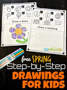 Kids will be come confident in their artist abilities as they work through these easy, free printable,SPRING Step by Step Drawings for Kids. These are perfect for preschool, pre k, kindergarten, first grade, and 2nd grade students. The drawing worksheets include how to draw a bee, bird, birdhouse, flower, tulip, butterfly, caterpillar, ladybug, nest, and umbrella.