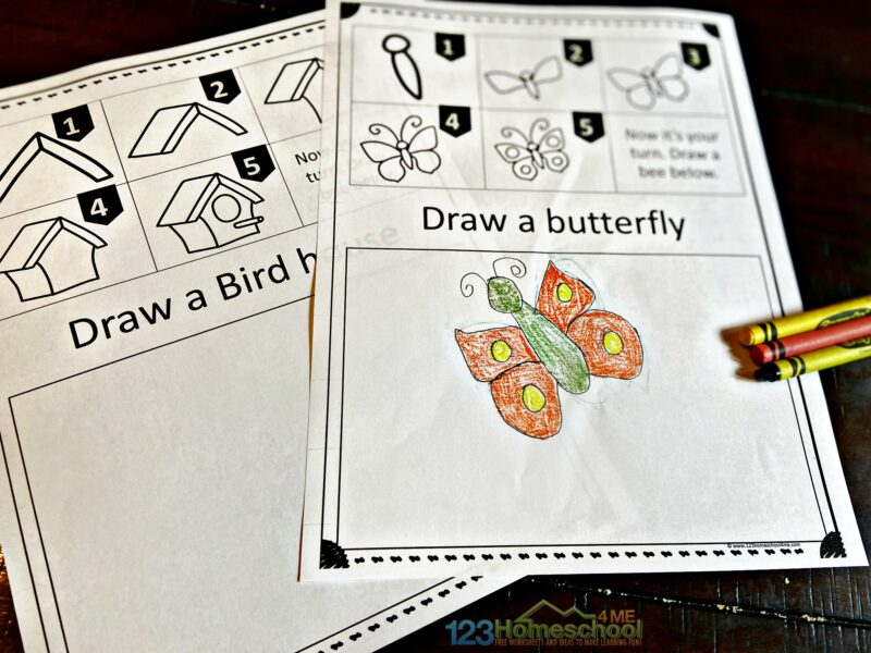 Simple Drawing for Kids with 5 steps to draw a butterfly or one of 10 other spring pictures.