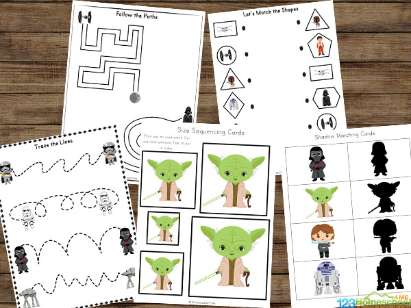 Star Wars Printables for kids practicing size sequencing, pre-writing skills, shapes, mazes, activity pages, and more with toddler, preschool, pre k, kindergarten, first grade, and 2nd grade students