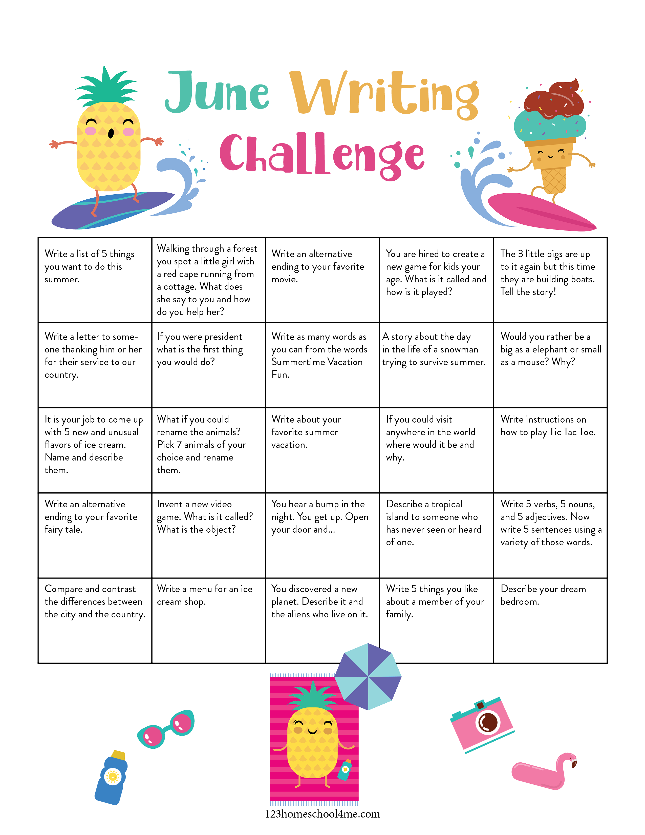 free printable calendar filled with Writing Ideas