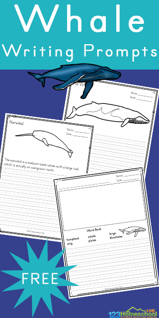 Are you looking for some fun ways to help encourage your children to write more? Do they love learning about whales - the massive creatures in the ocean? Then they will love these free printable ocean writing prompts featuring the giant of the water world - the whale! Thesefree printable writing prompts are perfect for kindergarten, first grade, 2nd grade, 3rd grade, 4th grade, 5th grade, and 6th grade students.