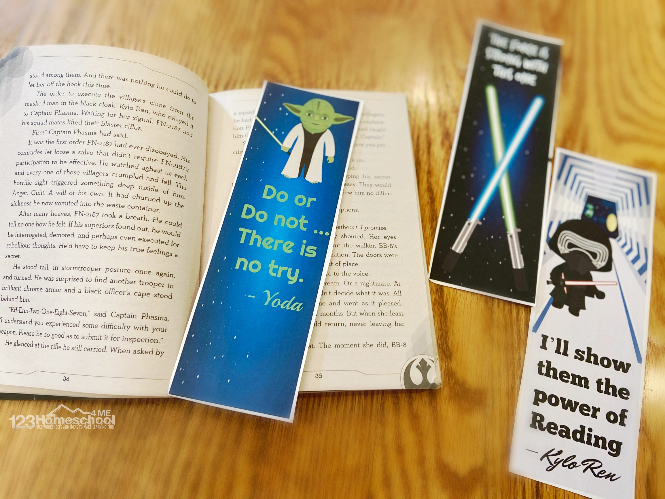 bookmarks for kids with yoda saying do r do not, there is no try, light sabers, and kylo ren