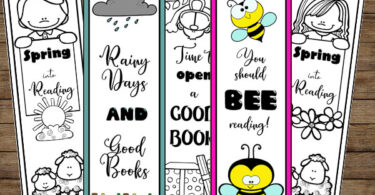 super cute black and white spring printable bookmarks to get kids excited about reading