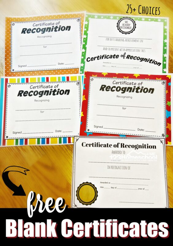 """Help celebrate achievements throughout the year with one of our 25 super cutefree printable certificates for kids! These free printable certificates for students include various options including a simple """"formal"""" black and white certificates of achievement and cute colorful Award Certificates for kids of all ages to give out at school, sports, home, homeschool reading awards, coops science fair, geography bee, and more. These free printable certificatesare perfect for preschool, pre-k, kindergarten, first grade, 2nd grade, 3rd grade, 4th grade, 5th grade, 6th grade, 7th grade, 8th grade, 9th grade, 10th grade, 11th grade, and 12th grade students. Simply download pdf file withprintable certificates and you are ready to help your child celebrate withfree editable certificates for students."""