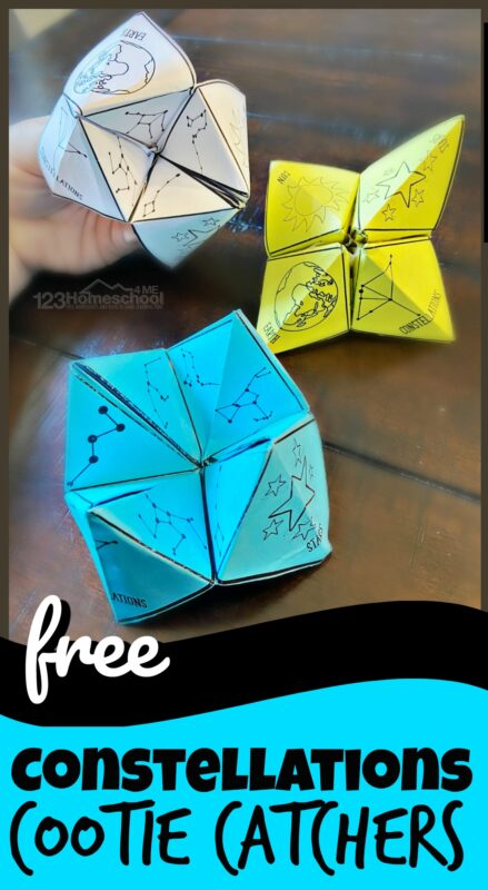 Printable Cootie Catchers to help kids of all age learn constellations and their names! Add this fun constellation activity to your astronomy or solar system unit for pre k, kindergarten, grade 1, grade 2, grade 3, and grade 4 students.
