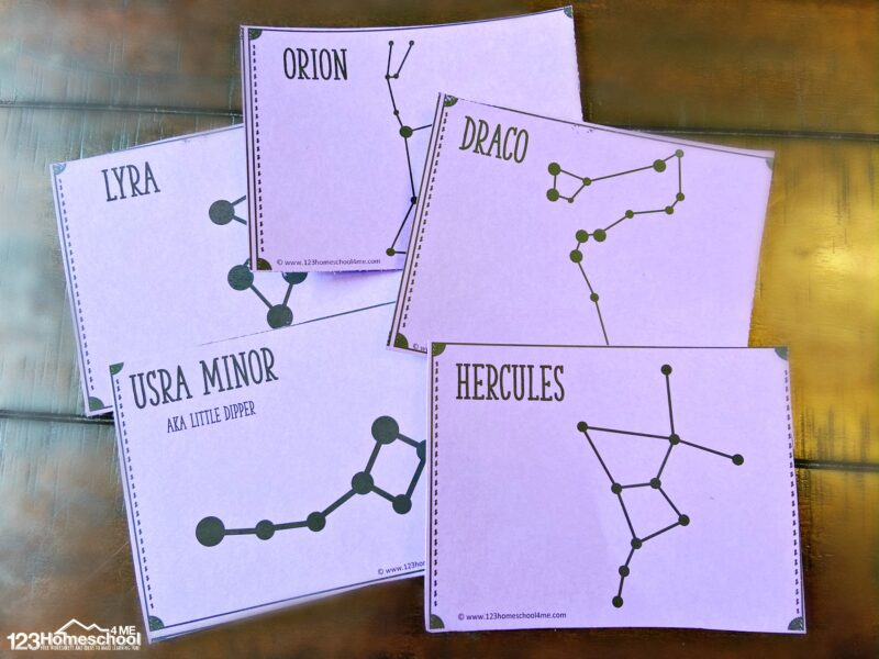 free learn about Constellations for Kids with these free printable constellation flashcards for preschool, pre k, kindergarten, first grade, 2nd grade, 3rd grade, 4th grade, 5th grade, 6th grade