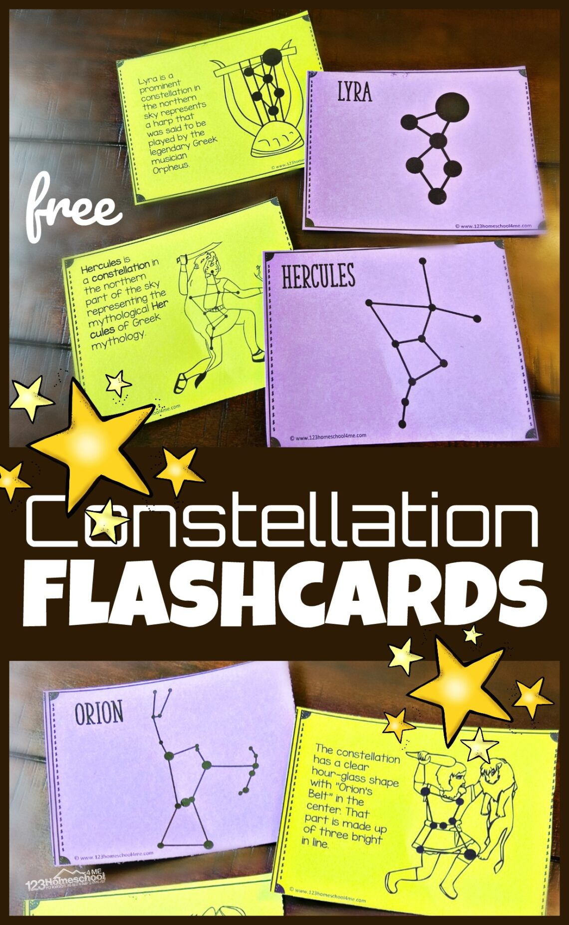 Kids will have fun learning about the formations the stars make in the night sky with these super cute, free printable, Constellation Flashcards.  Plus, don't miss all the fun star activity ideas for using your cards. Perfect for solar system unit for kids in pre k, kindergarten, first grade, 2nd grade, 3rd grade, 4th grade, 5th grade, and 6th grade studying astronomy