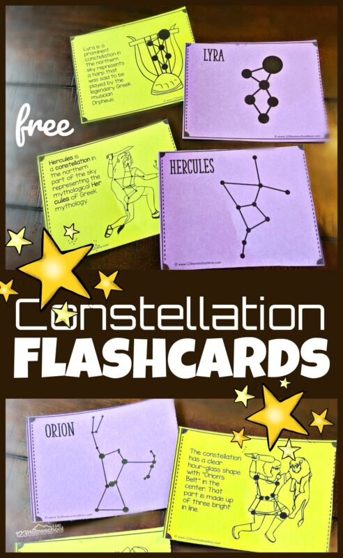 Kids will have fun learning about the formations the stars make in the night sky with these super cute, Constellation Flashcards. Use these constellations printables to make learning about constellations for kids FUN! Plus, don't miss all the fun star activity ideas for using your cards with preschool, pre-k, kindergarten, first grade, 2nd grade, 3rd grade, 4th grade, 5th grade, and 6th grade students. Simply download pdf file with the free constellation printablesand your children will have fun learning with theconstellation cards.