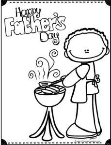 dad grilling happy fathers day coloring page