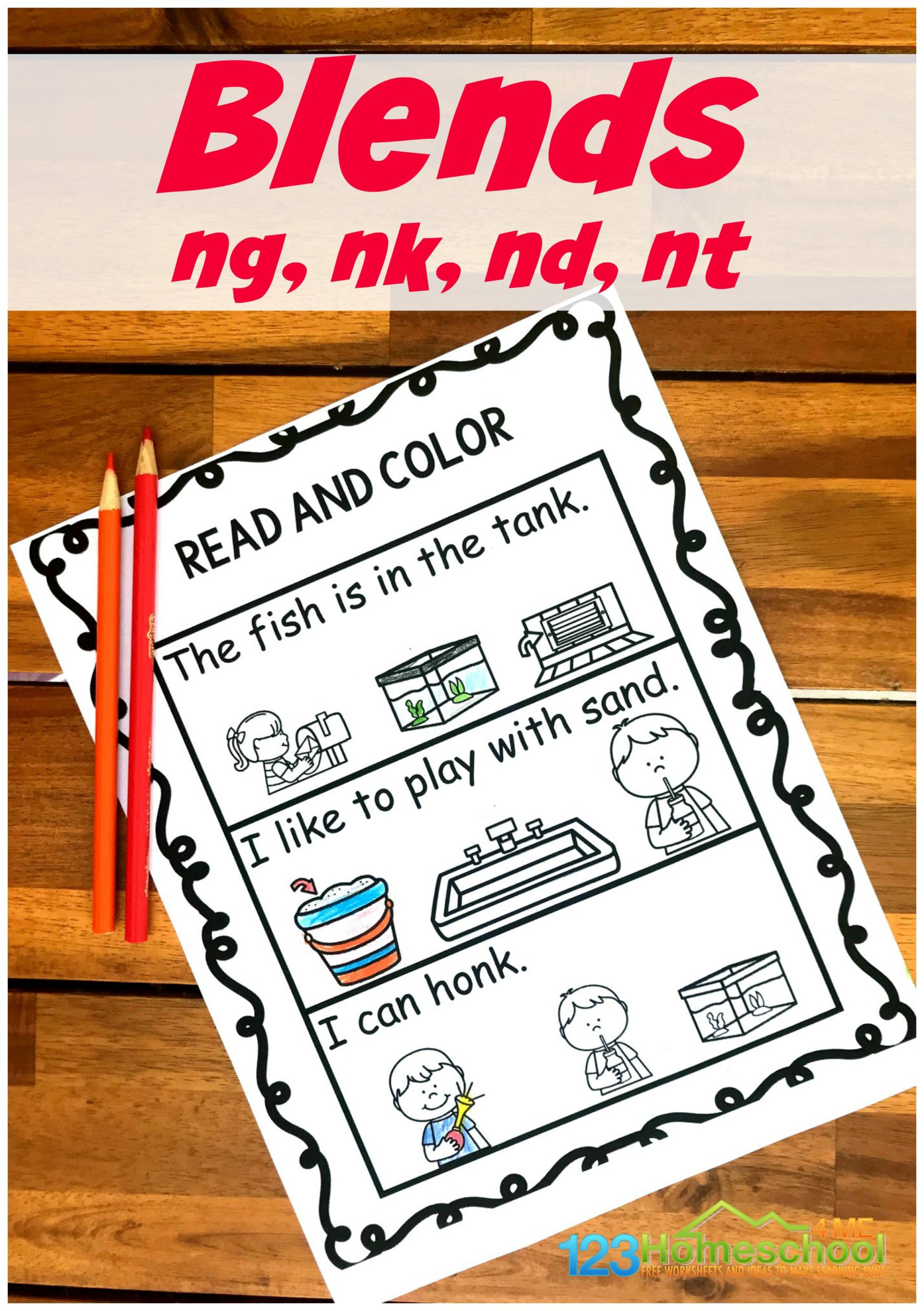 First grade students will have fun practicing reading n blends in sentences with these super cute, free Blends Worksheets. For this ending blends activity students will simply read the ng, nk, nd, and nt blends and color the picture that demonstrates what you just read. Simply download the pdf file with the n blends worksheets and you are ready to read and color with your 1st grader.
