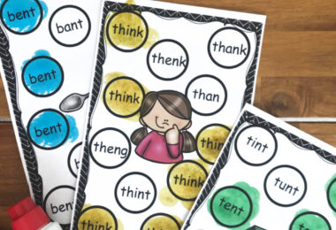 Kids will have fun working on ending blends with this free printable find and dot blend activity for first graders.