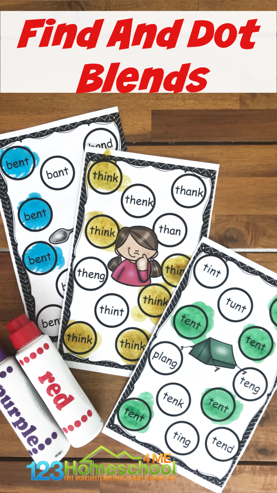 Kids will have fun working onending blends with this super cute, fun, and free printable find and dot blend activity for first grade students. We just using bingo daubers and do a dot printable to practice a variety of literacy activities like this Ending Blend Activities.