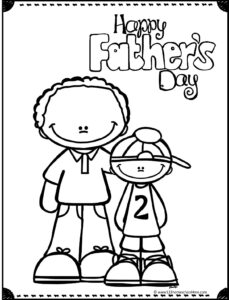 free happy fathers day coloring page with dad and son
