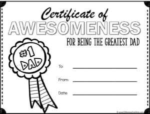 free printable certificate for #1 dad on fathers day