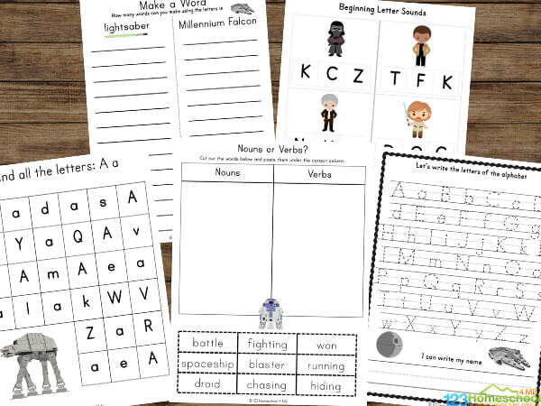 free worksheets with a fun star wars theme to practice preschool, pre k, kindergarten, first grade, 2nd grade alphabet letters, counting, mazes, letter recognition and so much more!
