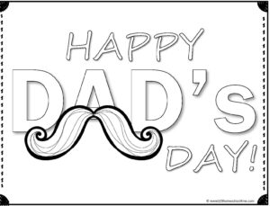 happy Dad's Day with mustache coloring page