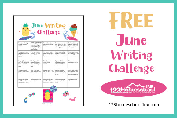 easy, no prep June Writing Challenge for kindergarten, first grade, 2nd grade, 3rd grade, 4th grade, and 5th grade students