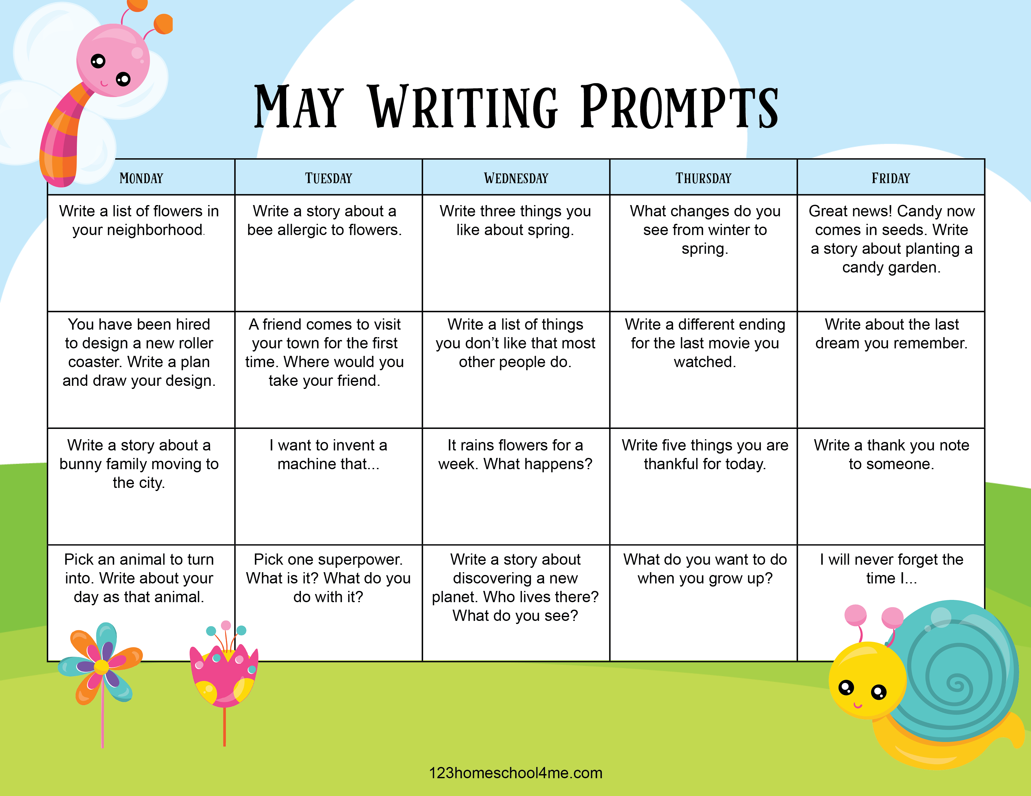 lots of fun, easy may writing ideas for kindergarten, first grade, 2nd grade, 3rd grade, 4th grade, 5th grade, and 6th grade students