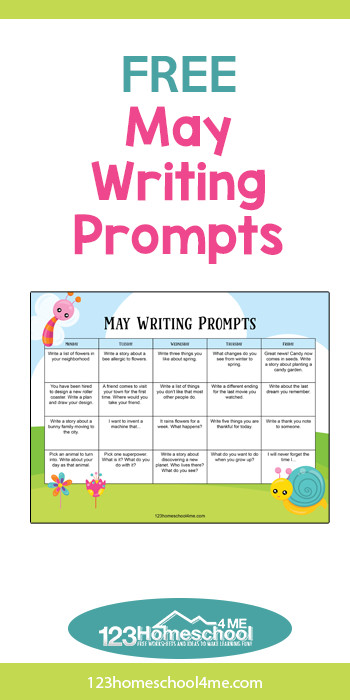 Children will have fun writing this spring with these free printable, May Writing Prompts. These creative writing prompts are in a convenient printable calendar to encourage your whole family to keep writing!