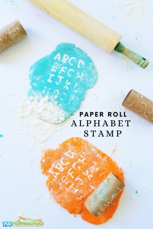 Make your own alphabet stamp using a paper roll to help little kids work on letter recognition while playing with play dough