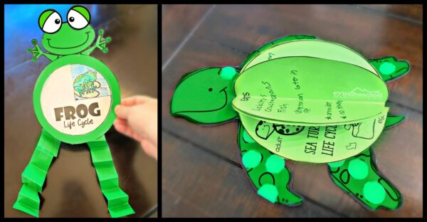 printable frog craft and printable sea turtle craft