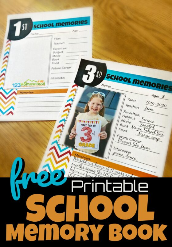 Capture the special moments and memories of your kids childhood as you fill in the pages of these free printable, School Memory Book sheets for every grade from preschool, pre k, kindergarten, first grade, 2nd grade, 3rd grade, 4th grade, 5th grade, 6th grade, 7th grade, 8th grade, 9th grade, 10th grade, 11th grade, and 12th grade students.