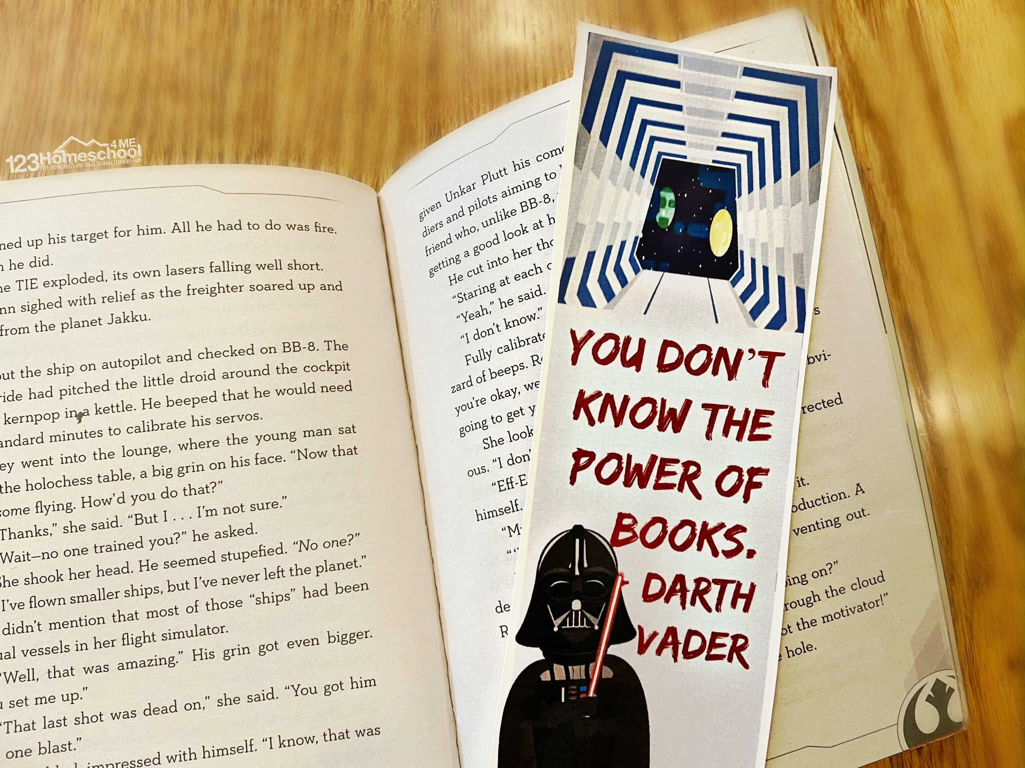 printable star wars bookmarks with darth vadar saying you don't know the power of books