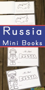 Help kids learn about the largest country in the world with this FREE printable Russia for Kids mini book filled with information about Moscow, the kremlin, Russian flag, music with balalaika, the ballet, squat dance, caviar, the Imperial Crown of Russia, nesting dolls, the onion domes of St Basils Cathedral, Red Square, Eurasian Brown Bear and more! This is such a fun way for kindergarten, grade 1, grade 2, grade 3, grade 4, and grade 5 to learn about countries around the world as they dive into geography or christmas around the world.