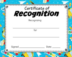 school certificate of recognition