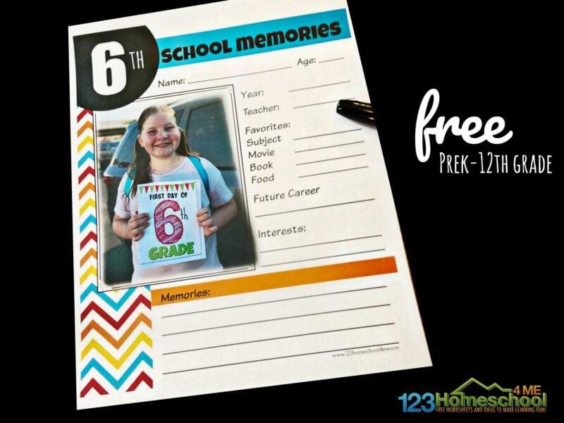 school memory printables